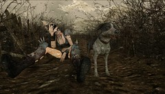 RAIN DOGS (tralala.loordes) Tags: raindogs tomwaits tralalaloordes tralala secondlife sl virtualreality vr avatar dog mutt stray mangy apolcalypse devastation lost loss companion washed away trail cantgetbackhome road rain