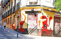 The Monster of Madrid (kirstiecat) Tags: monster streetart graffiti red colours colors stranger woman female spain espana madrid shop creative europe