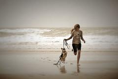 A Girl and Her Dog (strae1234) Tags: beachfun dogdays wholetthedogsout agirlandherdog freespirit beach bliss