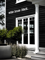 White House Black (Steve Taylor (Photography)) Tags: whitehouseblack building column black green white newzealand nz southisland canterbury christchurch bush tree venue