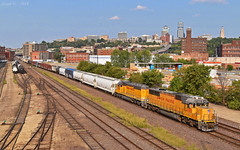 "Westbound Transfer in Kansas City, MO (""Righteous"" Grant G.) Tags: up union pacific railroad railway locomotive train trains west westbound transfer freight emd power kansas city missouri yard job"