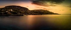 sunset at coast (K.H.Reichert [ not explored ]) Tags: landscape sunset küste cliffs sonnenuntergang langzeitbelichtung rocks longexposure wasser landschaft ocean sea himmel clouds sky meer gozo malta felsen coast wolken daħletqorrot