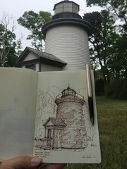One of the 'Three Sisters' - Nauset Beach, Cape Cod (schunky_monkey) Tags: fountainpen illustration art pleinair drawing draw sketchbook sketching sketch penandink ink pen capecod nauset lighthouse