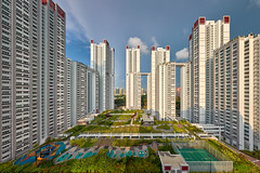 Cityvue Garden (Scintt) Tags: singapore contrast directional sunset golden orange warm yellow architecture building structure lines facade dramatic surreal abstract design construction modernist light glow sun afternoon wideangle nikon panorama stitched residential estate apartments flats homes housing living space urban exploration modern scintillation scintt jonchiangphotography windows walls concrete corridor texture enclosed public real cityvue redhill tiongbahru hdb garden rooftop vantagepoint skyscraper tall sky clouds green blue city cityscape skyline