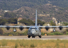 Hellenic Air Force C-130H 752 (birrlad) Tags: rhodes rho international airport greece aircraft aviation airplane airplanes military lockheed c130 c130h hercules turboprops prop hellenic 752 airforce greek taxi taxiway takeoff departing departure runway blur