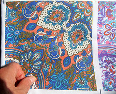 test-swatch-printed-cotton-Paisley-Kaleidoscope-textile-design-by-Patrick-Moriarty (Paisley Pat) Tags: paisley paisleyprint kaleidoscope textile design leafy ornamental decorative