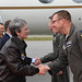 Secretary of the Air Force is greeted by the 354th Fighter Wing vice commander