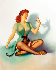Neat Trick by Edward Runci, 1946 (gameraboy) Tags: edwardrunci painting art illustration vintage pinup pinupart woman sexy neattrick 1940s stockings thighhighs nylons boobs redhead 1946
