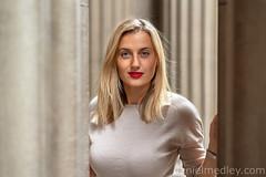 Behind Colmuns (Daniel Medley) Tags: exchangeplacestreet portrait woman beauty saltlakecity blond blonde nikon natural light 50mm18g d750