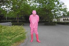 rubberslave in pink (lulax40) Tags: pink rubberslave rubber fetish rubberboots hunter farmerrain rainwear