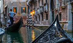 Woman and Man (matthew:D) Tags: venezia man urban ride evening venice water city italy boat gondola ore woman canal