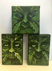 Little Green Men (Ronald Hackston) Tags: painting drawing art trees vegetation green man pagan god greenman thegreenman folklore folk folkhorror