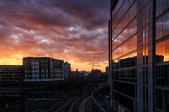 The Journey Begins (RichardBeech) Tags: paddington paddingtonstation london uk britain rail railway trains transport journey travel commute evening winter colourful colours sunset sun sundown clouds sky outdoors windows offices buildings glass reflections highrise urban city capital paddingtonbasin canon5dmarkiii canon24105mm