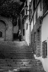 Street shot, Granada, Spain (Blackburn lad1) Tags: granada spain street alley oldtown stairs people tree architecture andalusia