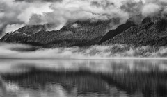 'Skeena Monochrome' (Canadapt) Tags: river clouds mist fog reflection mountain tower skeena bc canadapt