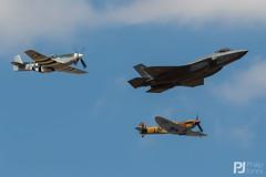 USAF F-35A Heritage Flight (philrdjones) Tags: 2018 airshow egva f35 f35a ffd fairford formation hertiageflight july lockheedmartin mustang northamerican p51d raffairford riat royalinternationalairtattoo spitfire spitfirevc supermarine tribute