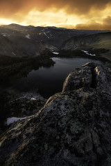 Highlands Sunset (Trevan Hiersche) Tags: twinlakes wyoming beartoothpass beartooths montana outdoor explore evening sunset clouds lakes rocks mountains elevation altitude