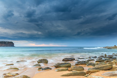 Rocky Shore Seascape and Cloudy Sky (Merrillie) Tags: daybreak sunrise nature water nsw centralcoast waves sea newsouthwales rocks earlymorning morning landscape australia ocean macmasters waterscape clouds coastal macmastersbeach outdoors seascape dawn coast cloudy sky