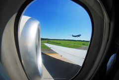 My Favorite Seat on the 717 (Infinity & Beyond Photography) Tags: boeing 717 b717 md95 engine nacelle wing delta air lines airlines aircraft airplane airliner charlotte airport clt planes landing 8mm samyang fisheye lens