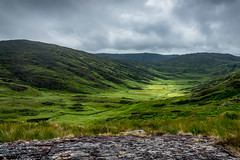 Valley to Cumeen Tadhg Lake and Gleninchaquin Waterfall (Kevin_Barrett_) Tags: ireland kerry beara valley mountain mountains green pastoral