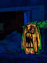 Teeth (Steve Taylor (Photography)) Tags: teeth art digitalart streetart graffiti blue green yellow black fluorescentlamp fluorescent newzealand nz southisland canterbury christchurch monster alien cbd city scary eerie spooky