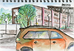 View from Eagle's Deli (Jonathan Lurie) Tags: watercolor paper cleveland circle beacon street art brookline boston brighton contemporary painting sketch book sketchbook beaconstreet clevelandcircle contemporaryart contemporarypainting watercolorpainting watercoloronpaper massachusetts unitedstates us