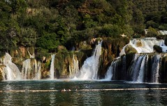 Krka Wateralls (john atte kiln) Tags: krkanationalpark croatia krka nationalpark water waters flowing trees trunks branches leaves woods krkariver river lake dalmatia šibenikknin lozovac tree forest wood park waterfalls buoys barrier swimmers hrvatska