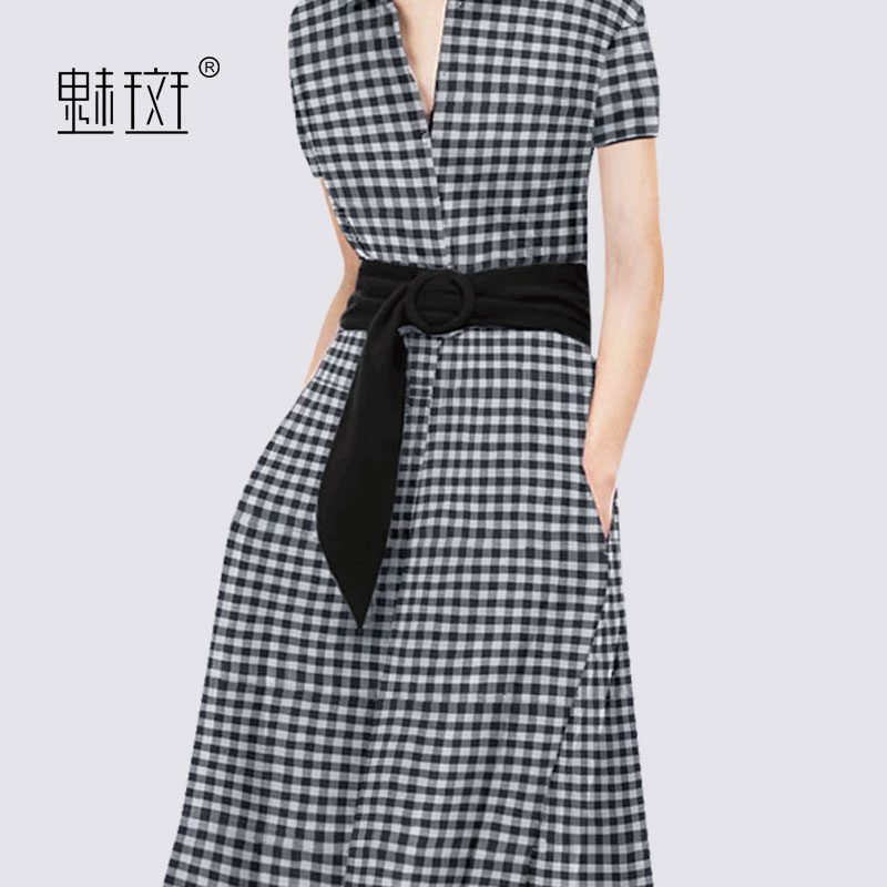 Charm spot 2018 new fashion short sleeved lattice dress female Xia Zhong long body slim slim shirt A skirt