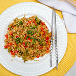 vegetables Rices with Pepper, chickpea and pea Top View thumbnail