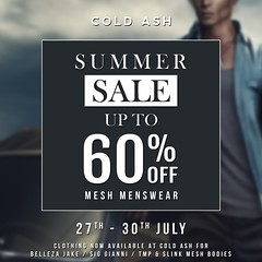 SUMMER SALE NOW ON @ COLD ASH - THIS WEEKEND! 27-30th JULY (coldashsl) Tags: sl menswear mens mesh clothing fashion male shop coldash cold ash tmd department project themeshproject signature gianni fittedmesh fitmesh belleza jake slink sale