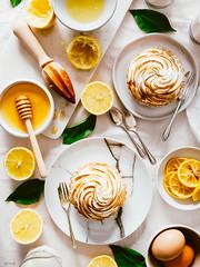 Honey Lemon Meringue Tarts (ErinaMak) Tags: tart tabletop fujixt1 cake dessert comfort sweet leaf pie fujifilm eggs stilllife lemon candied foodstyling topdown sweets treat xf1855mm sour juice meringue foodphotography honey