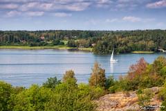 From Birka (stewartl2010) Tags: lakemälaren islands water colorefexpro4 sweden bluesky björkö ansgar unesco adelsö lightcloud summer birka nikfilters boat ansgarsmonumentet trees vikings worldheritagesite stockholmslän se