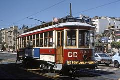 US CA San Francisco MUNI Portland 503 9-1983 (David Pirmann) Tags: tram trolley streetcar transit california ca sanfrancisco muni marketstreetrailway