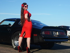 Holly_9189 (Fast an' Bulbous) Tags: classic american car pontiac trans am muscle girl woman hot sexy pinup model red wiggle dress high heels stockings nylons long brunette hair people outdoor