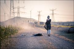 Love was.... (Chris 1971) Tags: ruby lady woman female vrouw dame breakup ditched 39kgk3 europoort maasvlakte dustroad stofweg roadmovie suitcase koffer valies sunset dusk
