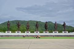 Bronze statues of 7 Thai kings in Rajabhakti park near Hua Hin, Thailand (UweBKK (α 77 on )) Tags: hua hin huahin prachuap khiri khan province thailand southeast asia bronze statues thai kings rajabhakti park monuments 7 seven hill green concrete