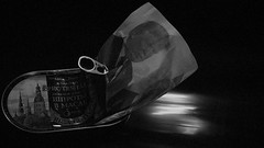 Off To Infinity (Rand Luv'n Life) Tags: odc our daily challenge fresh garbage russian sardine can space ship donald trump black background monochrome blackandwhite jet blast indoor composition political satire