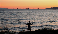 And to all I say 'Yes' (HereInVancouver) Tags: man ocean water pacific englishbay sunset freighters boats ships hills bliss havingamoment thankful candid vancouverswestend vancouver bc canada canong9x thingstodobythewater ngc