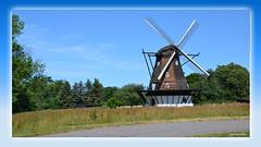 Kulla Gunnarstorps Mölla in Skåne (2) (andantheandanthe) Tags: skåne sweden schweden höganäs höganäskusten coast coastline june midsummer kullabygden mill kulla gunnarstorp mölla windmill farming sky field blue