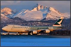"""B-LJA Cathay Pacific Cargo """"Hong Kong Trader"""" (Bob Garrard) Tags: blja cathay pacific cargo hong kong trader boeing 747 748 748f anc panc sunset"""