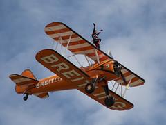 The Flying Circus wingwalking team (katwesley) Tags: flyingcircus wingwalking breitling aerosuperbatics stearman biplane shuttleworth oldwarden