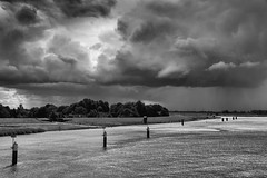 stormy atmosphere above the river ems (Christoph St.-V.) Tags: leerostfriesland niedersachsen deutschland de moody clouds cloudscape ems river storm thunder bw