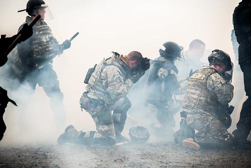 Oregon Guardsman Train with Civil Law Enforcement on Riot Response Techniques.