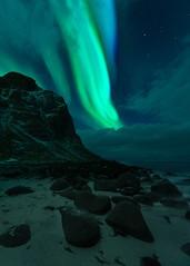 dancing lights (haimerlfelix) Tags: northerlights aurora lofoten norway stone beach sea sky mountain green greenlights
