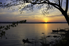 Sunset on the Mississippi River (SteveFrazierPhotography.com) Tags: roadsidepark mississippiriver bank water hamilton nauvoo illinois sunset horizon clouds glow reflection leaves beautiful may 2018 stevefrazierphotography spring springtime logs brush scenery scenic landscape waterscape