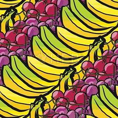 seamless pattern of bananas and cherries (Hebstreits) Tags: abstract art background banana bananas berry cartoon cherry collection cute design drawing drawn food fresh fruit fruits green hand health healthy illustration lemon natural nature organic pattern seamless sketch summer sweet textile texture tropical vector vegetarian vitamin wallpaper watercolor white