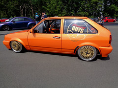 VW Polo Coupe (911gt2rs) Tags: treffen meeting show event tuning tief low stance slammed youngtimer 3 86c 2f dub clean custom orange g40 bbs felgen wheels rims