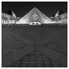 Musee de Louvre at Night II / Paris, France (Andrew James Howe) Tags: mono blackandwhite paris louvre museedelouvre architecture square