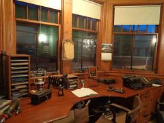 Operators desk (M.R.Kirk) Tags: depot station train railroad sooline waupacahistoricalsociety historic history night waupaca desk office telegraph typewriter