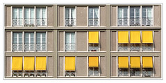 Le clan des jaunes - The clan of the yellows (diaph76) Tags: extérieur france normandie seinemaritime lehavre fenêtres windows stores rideaux curtains immeubles estate graphisme graphics jaune yellow répétition habitations appartements apartments